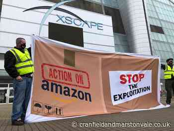 Union campaigners 'Action on Amazon' banners in Milton Keynes - Cranfield and Marston Vale Chronicle