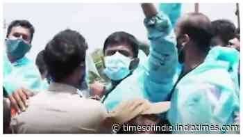 Hyderabad: PPE clad NSUI members staged protest in front of hospital