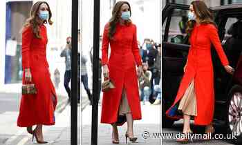 Kate Middleton stuns in a scarlet Eponine coat as she arrives at the National Portait Gallery