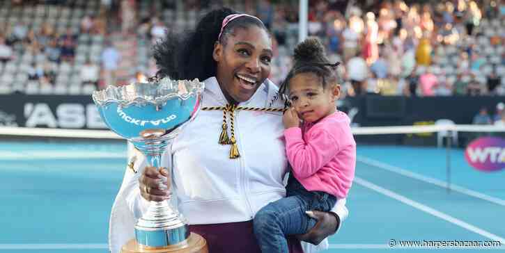 Serena Williams and Daughter Olympia Match in Hot-Pink Swimsuits - HarpersBAZAAR.com