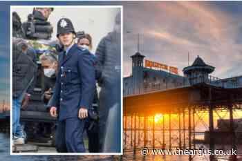 Harry Styles films My Policeman at Brighton Palace Pier