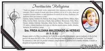Invitación Religiosa: Sra. FRIDA ALDANA MALDONADO de HERBAS (QDDG) - Periódico La Patria (Oruro - Bolivia)