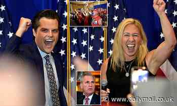 Matt Gaetz and Marjorie Taylor Greene tear into their OWN party at America First rally