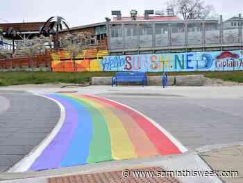 Rainbow crosswalk painted at Grand Bend traffic circle - Sarnia and Lambton County This Week