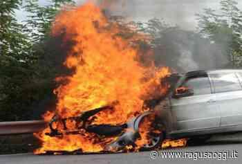 """A fuoco un'auto sulla """"ragusana"""", vicino lo svincolo per Pozzallo - RagusaOggi"""