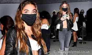 Chantel Jeffries showcases taut midriff in white crop top after the opening of a Hollywood nightclub