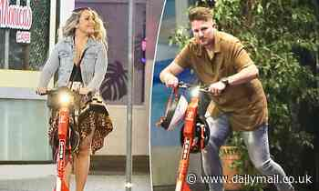 Married At First Sight lovebirds Bryce Ruthven and Melissa Rawson ride scooters