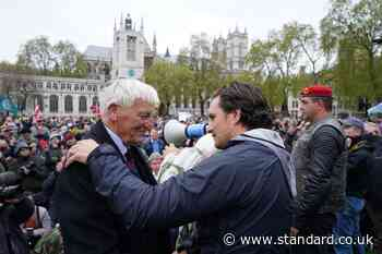 Hundreds of protesters march in support of veterans with former minister Johnny Mercer
