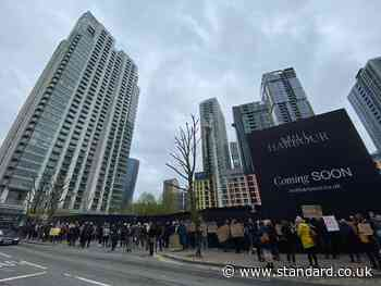 Cladding protest after fire at New Providence Wharf  in east London