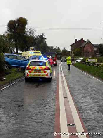 Car hit telegraph pole on busy Herefordshire road