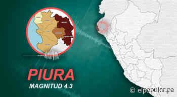 Temblor de magnitud 4.3 afectó Piura la mañana de este lunes, según IGP - ElPopular.pe