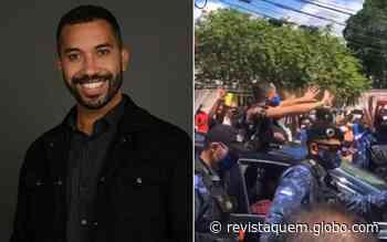 """Gil, do BBB21, é escoltado e ovacionado ao chegar em Recife: """"Emocionado"""" - QUEM Acontece"""