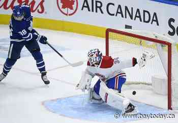 Maple Leafs beat Canadiens 3-2, clinch North Division title