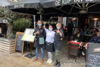 """Het weer wil niet mee, maar de terrassen lopen vol in Gent: """"We maken er een echte feestdag van!"""" - Het Nieuwsblad"""