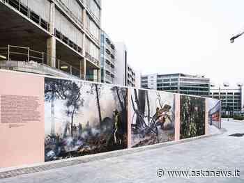 Milano, foto d'autore su 200 metri di cesate di cantiere a Rogoredo - Agenzia askanews
