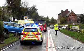Car crashes into telegraph pole on Herefordshire road