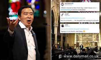 Andrew Yang angers Twitter by saying 'sh*t' during campaign town hall in a Brooklyn church