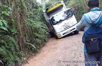 Camiones de carga se desviaron por vía veredal de Salento y la bloquearon - El Quindiano S.A.S.