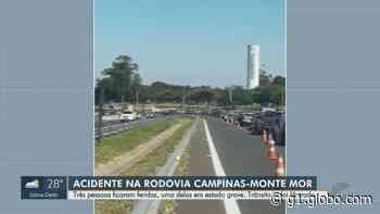 Motociclista atropela pedestres e três ficam feridos na Rodovia Campinas-Monte Mor - G1