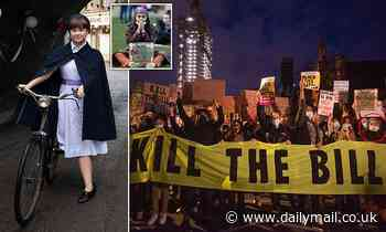 Call the Midwife's newest star Megan Cusack waved placard at Kill the Bill protest