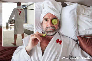Football great Eric Cantona relaxes in a hotel in new ad for hotels.com... - The Sun