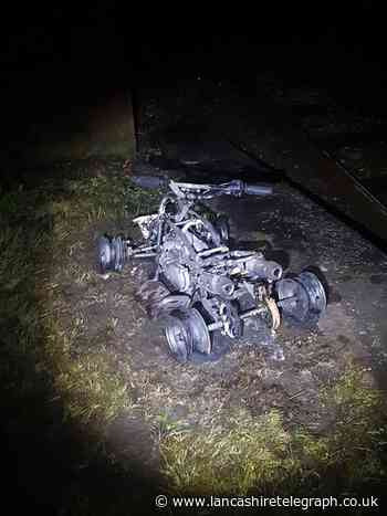 Appeal after quad bike set on fire and thrown from bridge onto train station platform