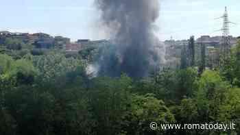 Incendio a Pietralata: bruciano sterpaglie e rifiuti, colonna di fumo a Roma nord est