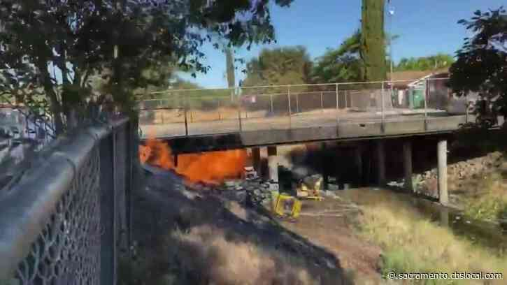 VIDEO: Crews Battle Broken Natural Gas Line Fire Under Road In Sacramento