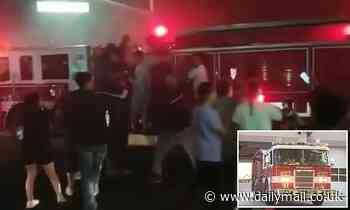 Disturbing moment Sacramento firefighters are mobbed by unruly crowd