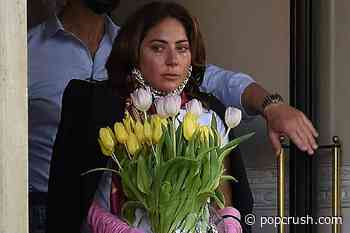 Lady Gaga Tosses Flowers to Fans in Italy as Film Wraps