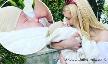 Emma Roberts shares five-month-old son Rhodes' face publicly for the first time on Instagram