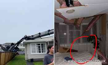 Family in lucky escape after crane falls through the roof of their home in freak accident