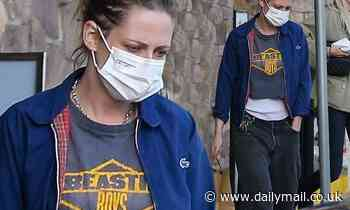 Kristen Stewart sports vintage Beastie Boys shirt for grocery run with girlfriend Dylan Meyer in LA - Daily Mail