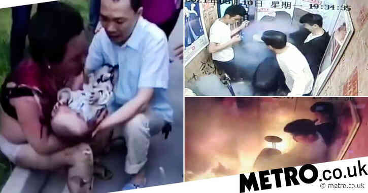 Gran and baby severely burned after electric bike bursts into flames in lift