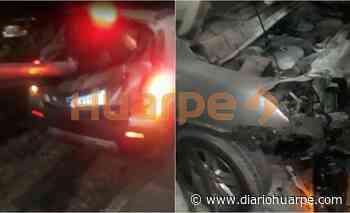 Un auto chocó y atravesó un guardarrail en Santa Lucía - Diario Huarpe