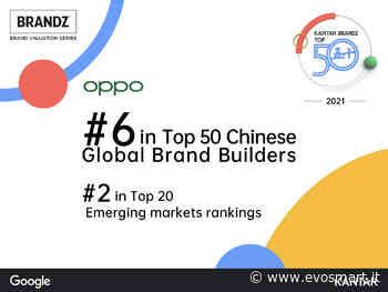 Oppo si aggiudica il sesto posto della Top 50 kantar brandz chinese global brand builders 2021 - Evosmart.it - Evosmart