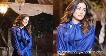 Hina Khan looks like a princess in royal blue dress – view pics - Bollywood Life