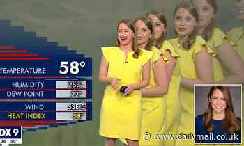 Moment a Minneapolis TV meteorologist can't stop laughing after a technical glitch