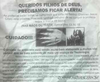 """Panfletos """"apocalíticos"""" serão investigados em Orleans, no Sul de SC - NSC Total"""