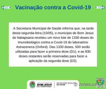 Bom Jesus do Itabapoana recebe 1330 doses da vacina da Astrazeneca contra a Covid-19 - Defesa - Agência de Notícias