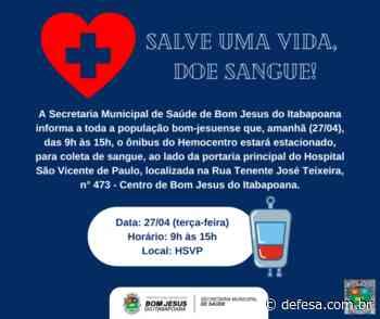 Doação de sangue amanhã (27/04) em Bom Jesus do Itabapoana - Defesa - Agência de Notícias