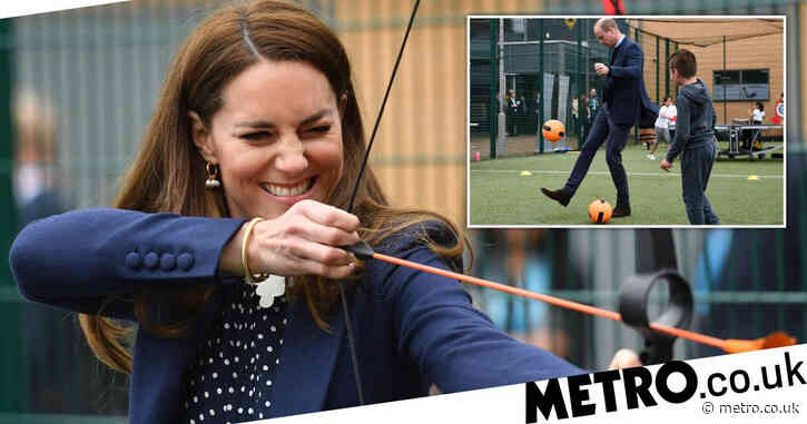 Will and Kate give archery a whirl during youth visit to mark mental health week