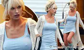 Lily James showcases fake bust to imitate Pamela Anderson's famously enhanced 34DD breast size