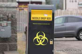 Used needle disposal box set up in Parry Sound