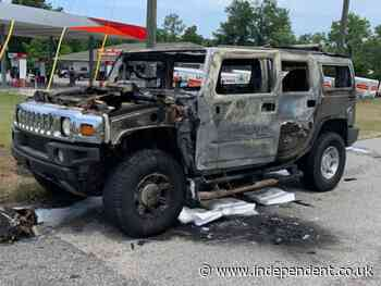 Hummer with four cans of gasoline bursts into flames amid panic buying of fuel