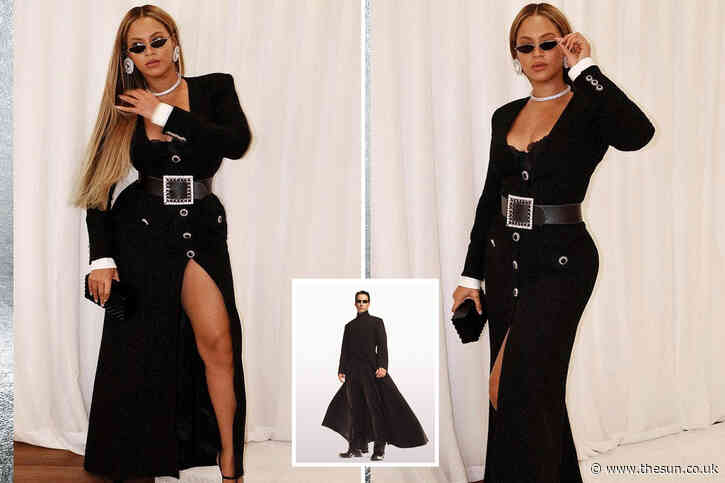 Beyonce looks like she's starring in The Matrix in statement dress