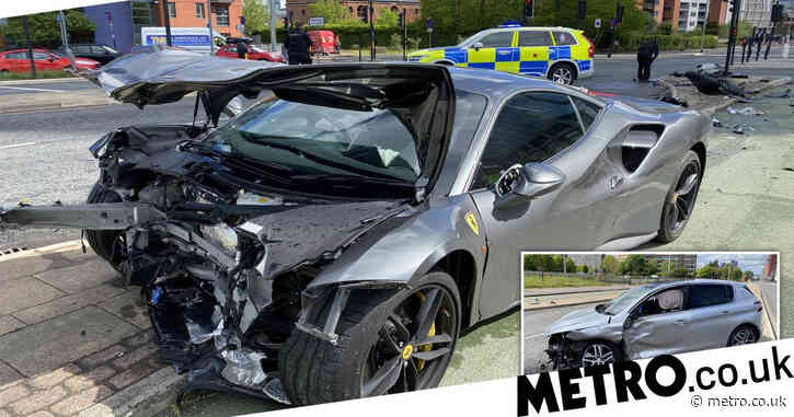 Supercar worth £250,000 wrecked in crash as passengers escape unharmed
