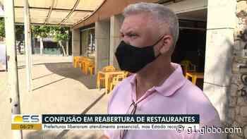 Justiça impede abertura de restaurantes em Vitória, Colatina e Cachoeiro de Itapemirim - G1