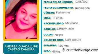 Se busca a Andrea Guadalupe Castro Zamora, se extravió en Tizayuca - Criterio Hidalgo
