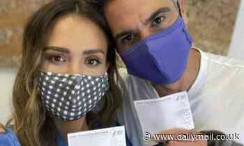 Jessica Alba celebrates as she and Cash Warren get COVID-19 vaccines - Daily Mail